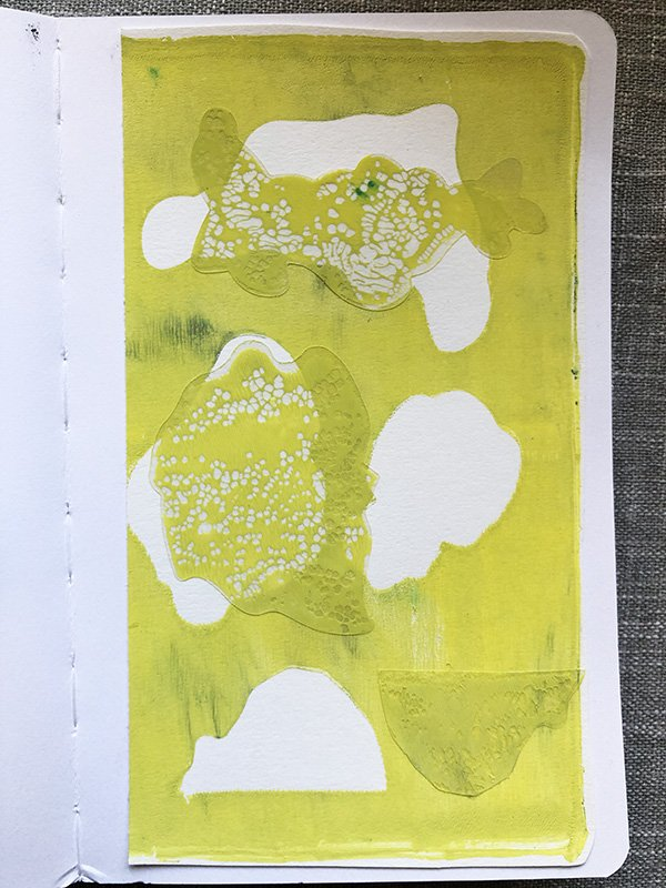 This is a Gelli Print I made in my art journals. Not the usual colors I use, but that's part of the joy of gel printing! #joyfulartjournaling