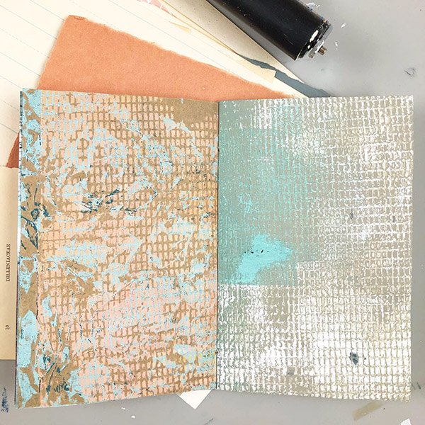 The inside of the art journal I made with my Gelli Prints. #joyfulartjournaling