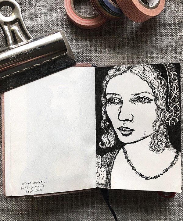 A stipple portrait from my sketchbook, after a Durer painting. #joyfulartjournaling